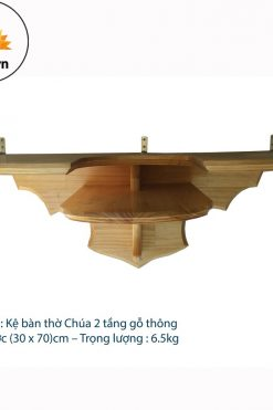 Kệ Bàn Thờ Công Giáo 2 Tầng Gỗ Thông (30 X 70)cm