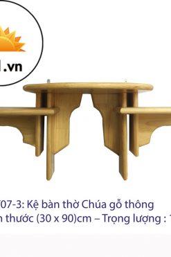 Kệ Bàn Thờ Công Giáo 2 Tầng Gỗ Thông (30 X 90)cm