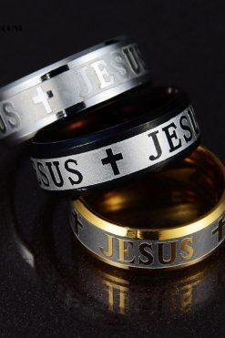 Nhẫn Khắc Nổi Hình Thánh Giá Chúa Jesus Phong Cách Thanh Lịch Dành Cho Cả Nam Và Nữ 03