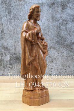 Thánh Giuse Công Nhân 20cm Gỗ Pơ Mu 02