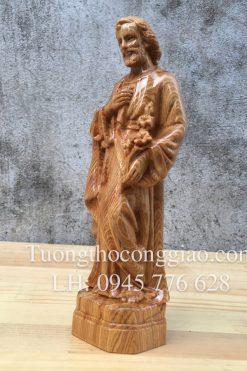 Thánh Giuse Công Nhân 20cm Gỗ Pơ Mu 04
