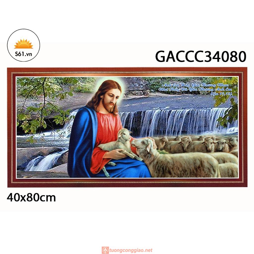 Tranh Chúa Chăn Chiên Mẫu 3 Gỗ MDF 40x80cm