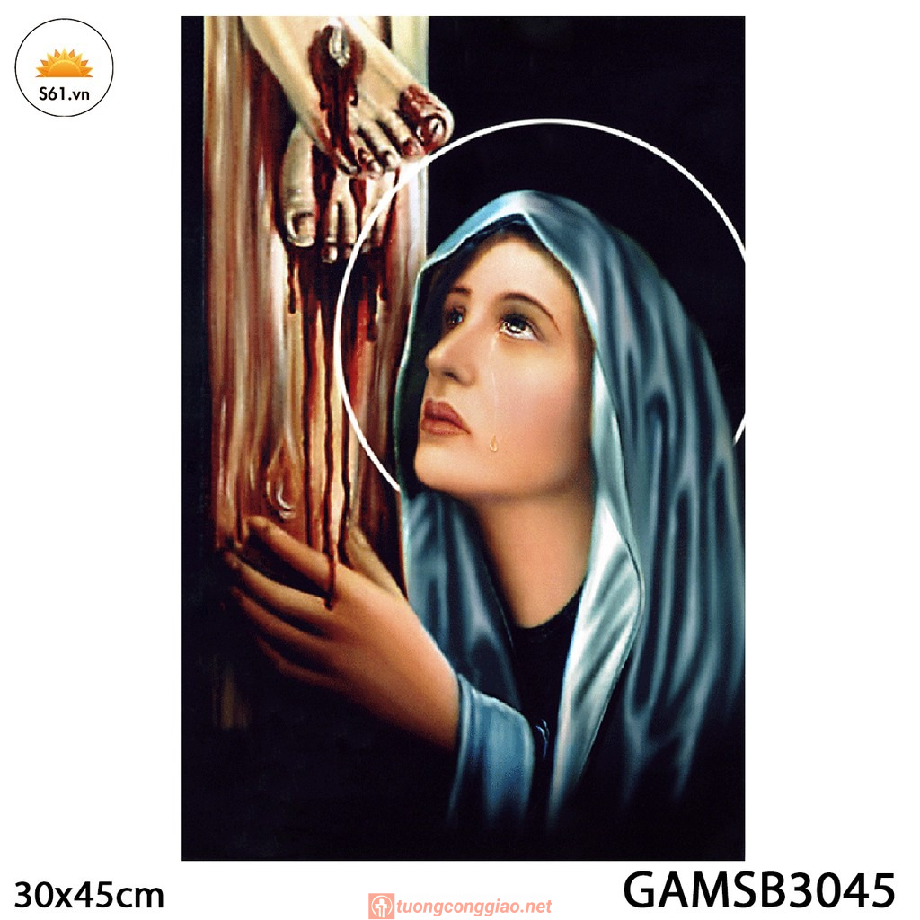 Tranh đức Mẹ Sầu Bi Gỗ MDF 30x45cm