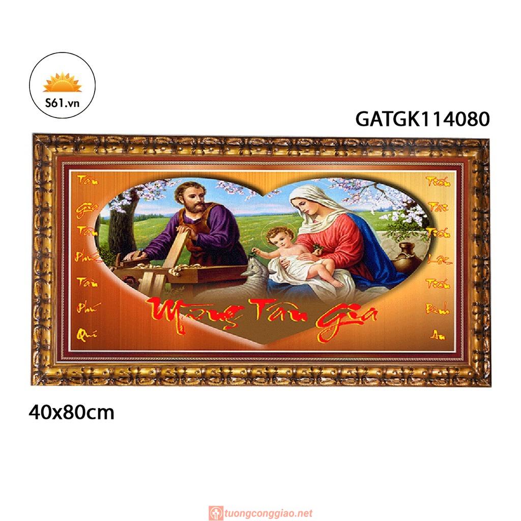 Tranh Mừng Tân Gia Hình Thánh Gia Thất Mẫu 11 (có Khung) Gỗ MDF 40x80cm