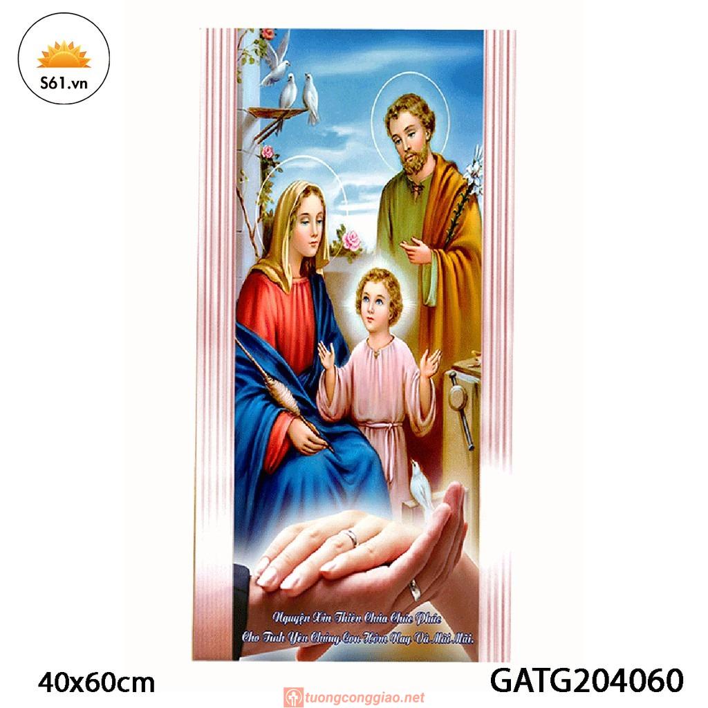 Tranh Quà Tặng Hôn Nhân Hình Thánh Gia Thất Gỗ MDF 40x60cm