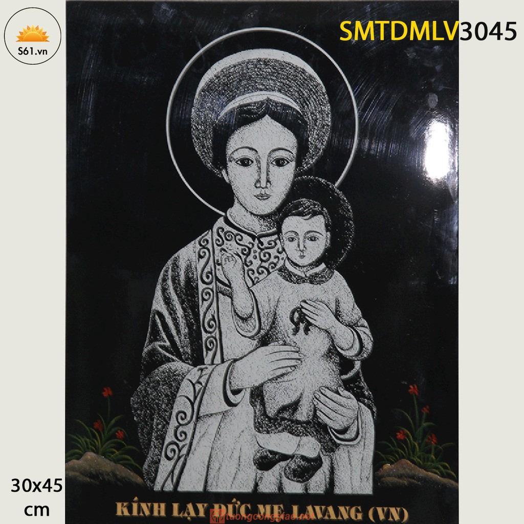 Tranh Sơn Mài Cẩm Trứng đức Mẹ La Vang Gỗ MDF 30x45cm