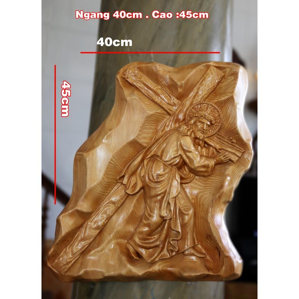 Tượng Phù điêu Chúa Vác Thánh Giá 45cm
