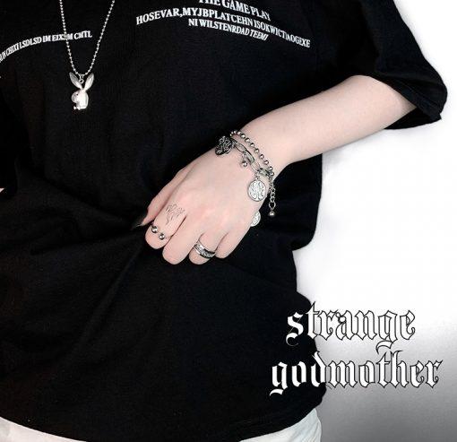 Vòng Tay Mặt Hình Cây Thánh Giá Phong Cách Hip Hop Hàn Quốc 03
