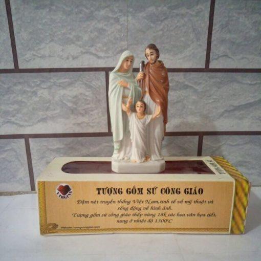 Tượng Gia đình Thánh Gia Gốm Sứ 12cm