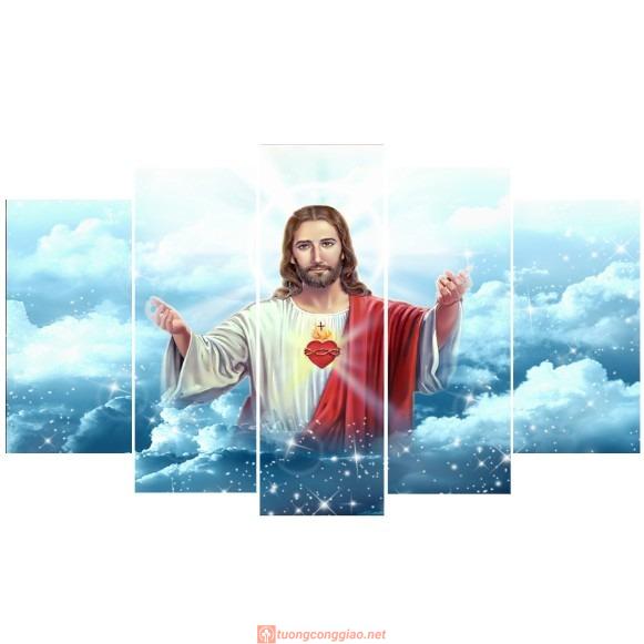Bộ 5 Tấm Tranh Treo Tường Chúa Giêsu Trang Trí Phòng Hiện đại 03