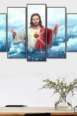 Bộ 5 Tấm Tranh Treo Tường Chúa Giêsu Trang Trí Phòng Hiện đại