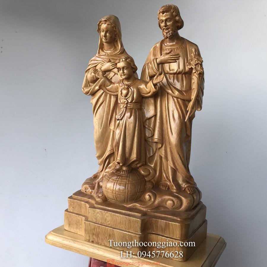 Gia đình Thánh Gia Bằng Gỗ Cao 50cm 09