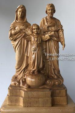 Gia đình Thánh Gia Bằng Gỗ Cao 50cm
