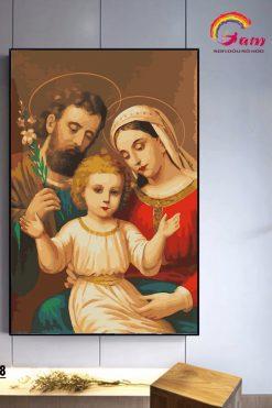 Tranh Sơn Dầu Số Hoá Tự Tô Màu Gam Công Giáo Gia đình Thánh Gia