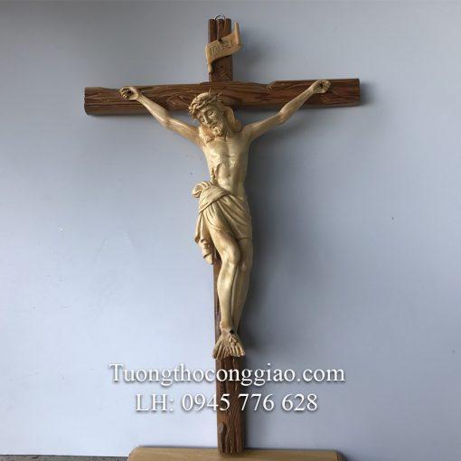 Tượng Chúa Chịu Nạn Bằng Gỗ Cao 50cm 02