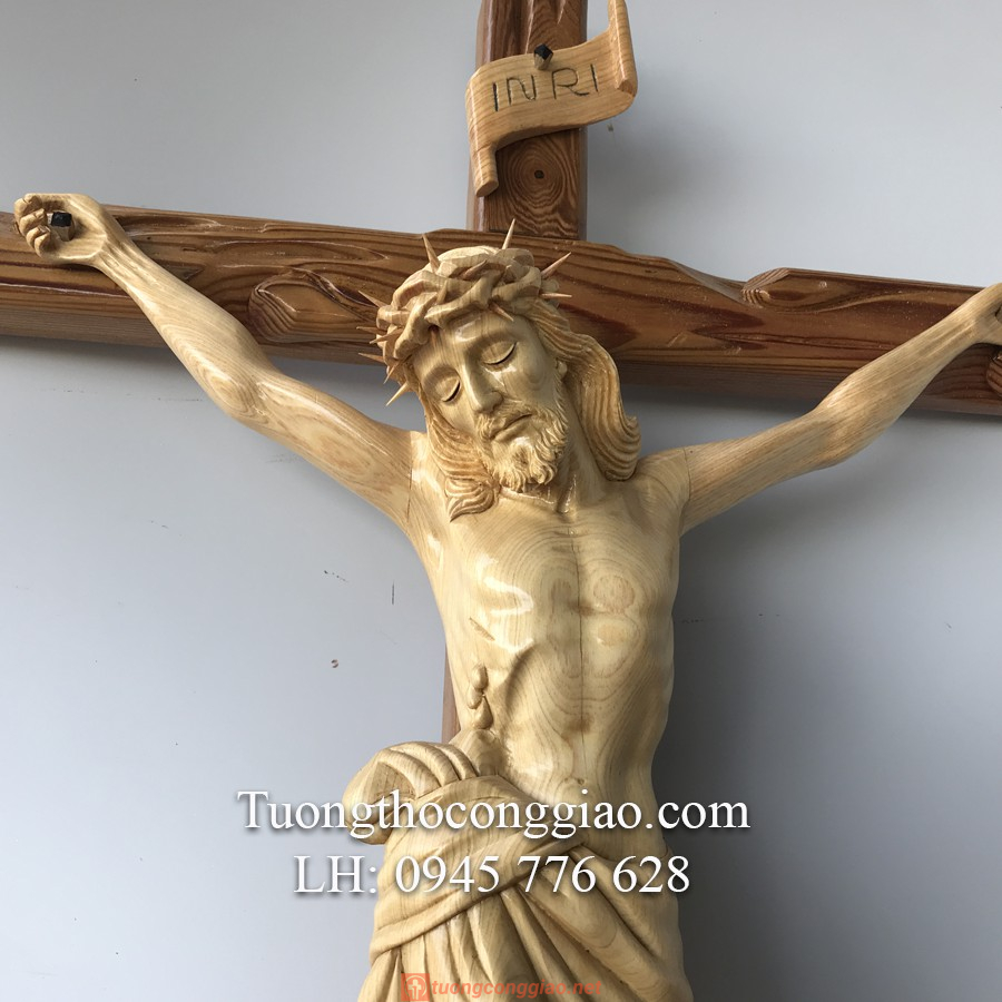 Tượng Chúa Chịu Nạn Bằng Gỗ Cao 50cm 03