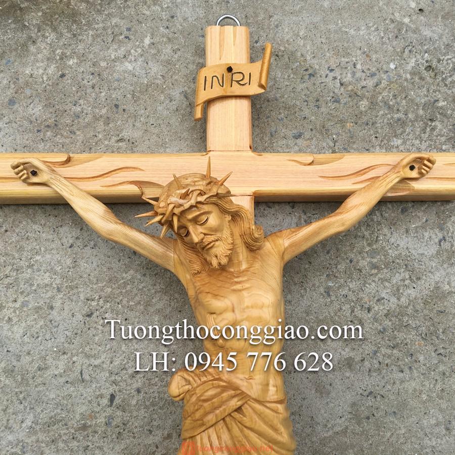 Tượng Chúa Chịu Nạn Bằng Gỗ Cao 50cm 05