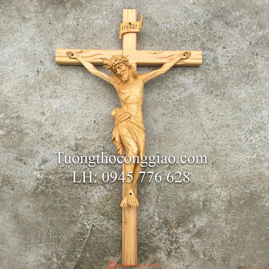 Tượng Chúa Chịu Nạn Bằng Gỗ Cao 50cm