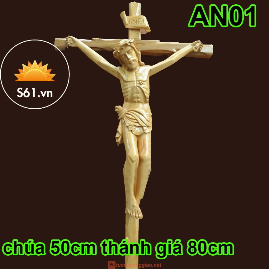 Tượng Chúa Chịu Nạn Cao 50cm Bằng Gỗ Pơ Mu