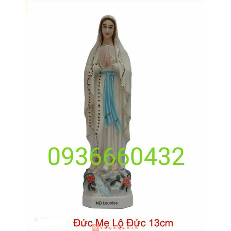 Tượng Đức Mẹ Lộ Đức Cao 13cm Sứ Ceramic