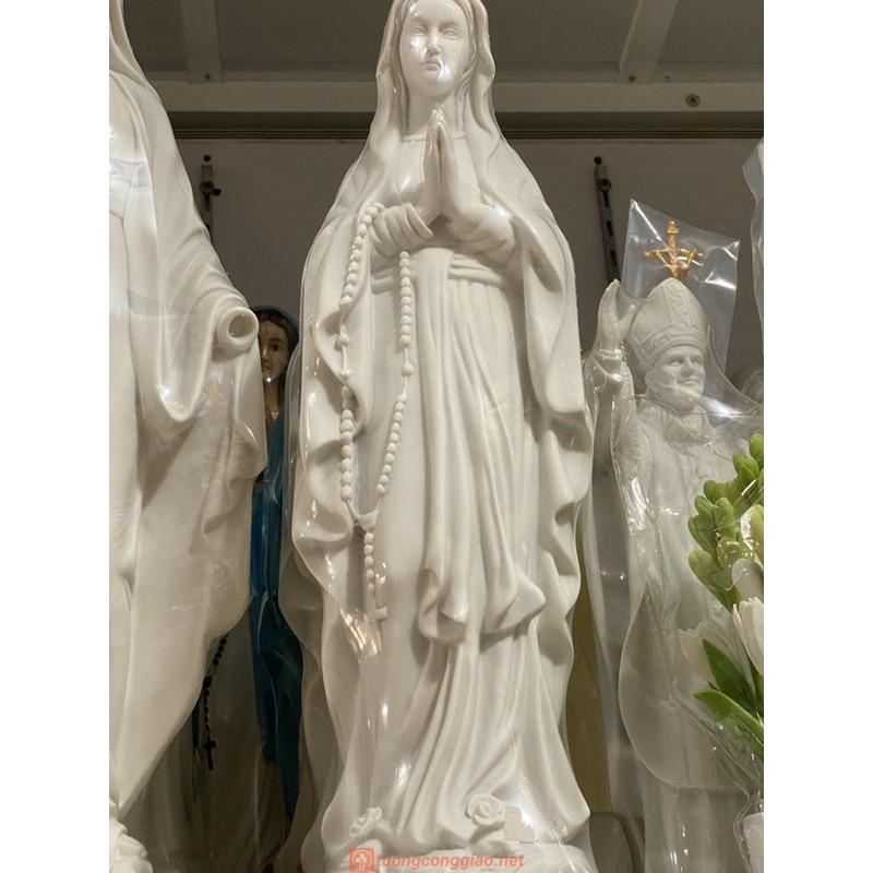 Tượng Đức Mẹ Lộ Đức Màu Trắng 40cm.
