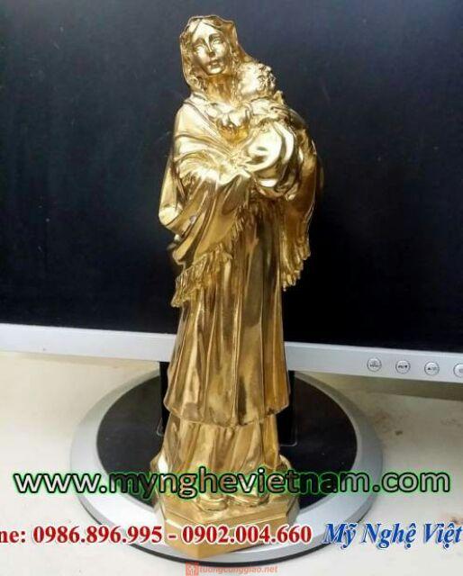 Tượng Đức Mẹ Maria Bế Chúa Bằng đồng Nguyên Chất 23cm 02