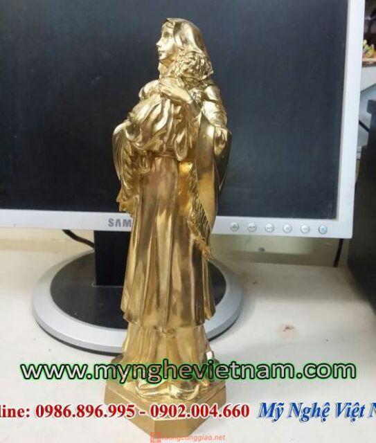 Tượng Đức Mẹ Maria Bế Chúa Bằng đồng Nguyên Chất 23cm 04