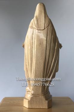 Tượng Đức Mẹ Ban ơn Gỗ Pơ Mu Cao 50cm (1)