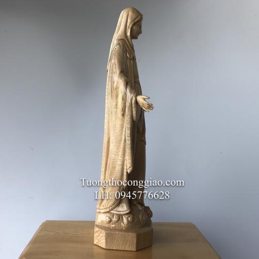 Tượng Đức Mẹ Ban ơn Gỗ Pơ Mu Cao 50cm (2)