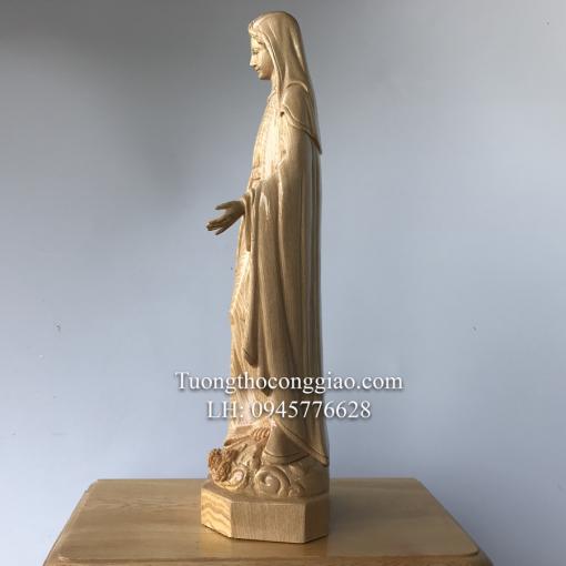 Tượng Đức Mẹ Ban ơn Gỗ Pơ Mu Cao 50cm (5)