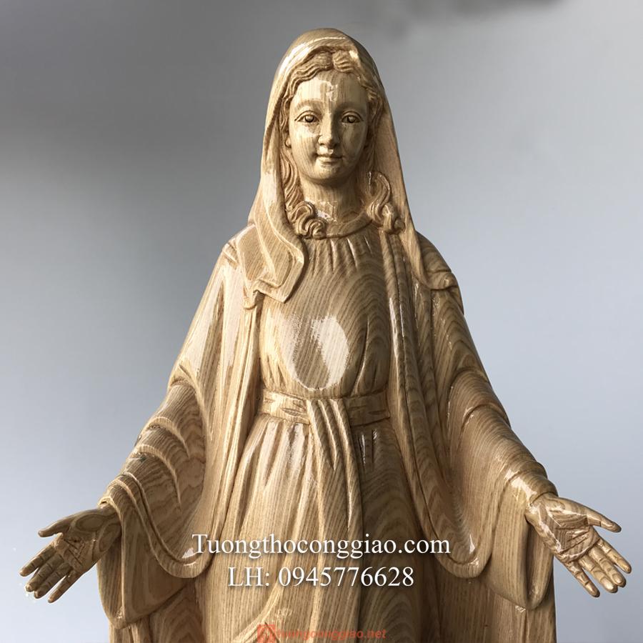 Tượng Đức Mẹ Ban ơn Gỗ Pơ Mu Cao 50cm (7)