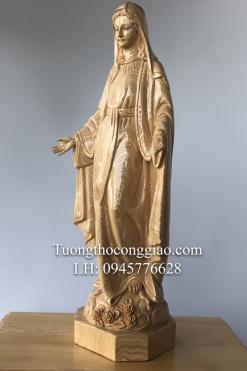 Tượng Đức Mẹ Ban ơn Gỗ Pơ Mu Cao 50cm (8)
