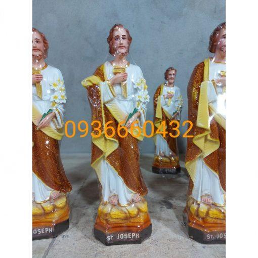 Tượng Thánh Giuse Hoa Huệ 40cm Màu Nâu 02