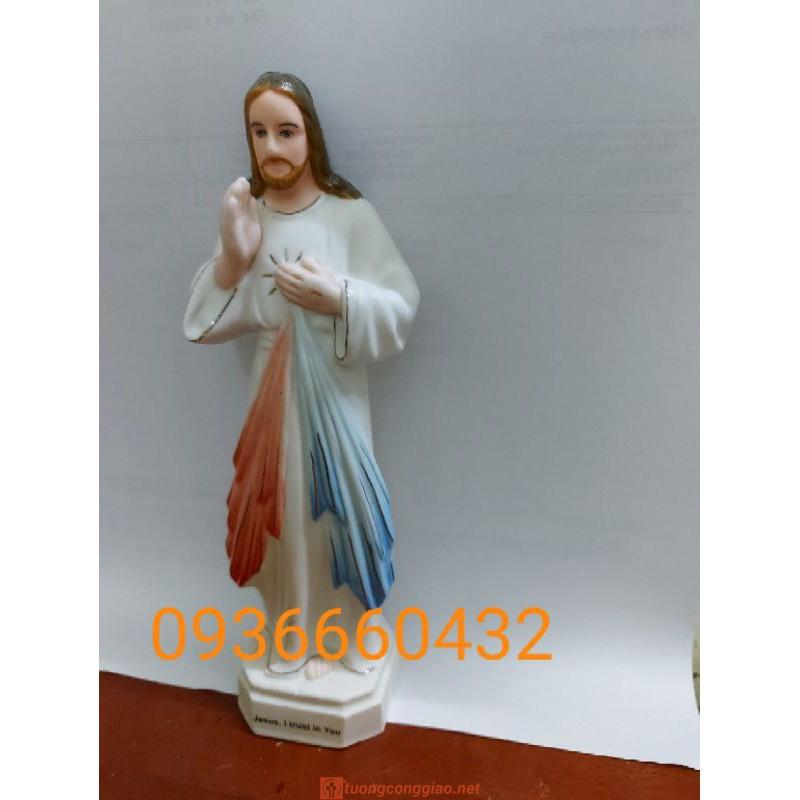 Tượng Lòng Chúa Thương Xót Cao 17cm Ceramic(sứ)