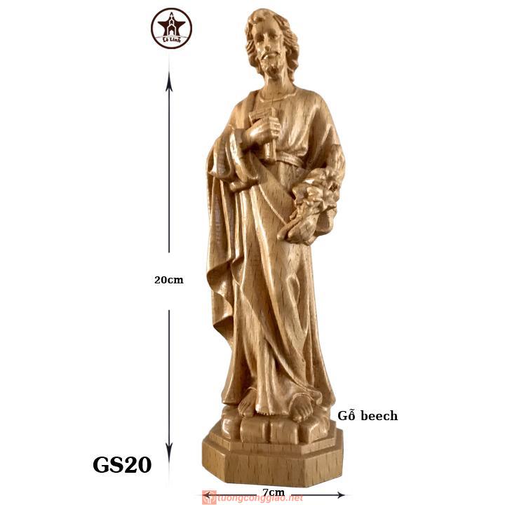 Tượng Thánh Giuse Gỗ Beech Cao 20cm