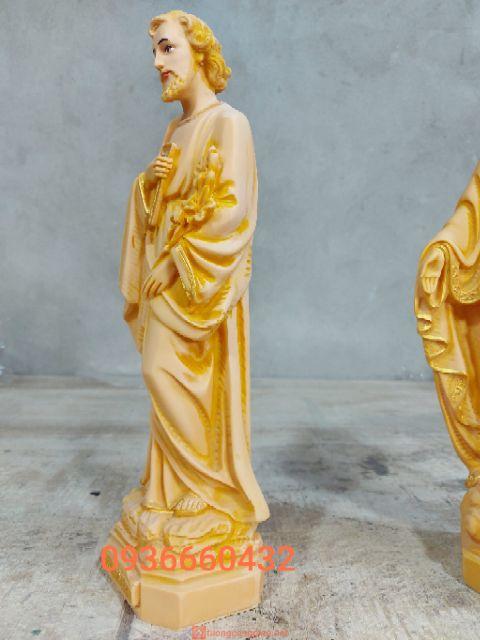 Tượng Thánh Giuse Thợ Cao 40cm Màu Gỗ 02