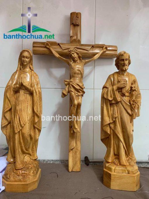 Bộ Tượng Gia đình Thánh Gia Bằng Gỗ đẹp