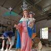 Tượng Đức Mẹ Bế Chúa Bằng Gỗ Sơn Màu